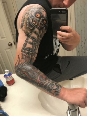 (I know it's a weird angle but it's the best I could do lol) Added a little twist to my kraken sleeve. The moon from majora's mask. Still a work in progress!: 26X9T ntiw (I know it's a weird angle but it's the best I could do lol) Added a little twist to my kraken sleeve. The moon from majora's mask. Still a work in progress!