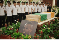 Beijing, Memes, and Death: 27 A memorial service for Cheick Tiote has been held in Beijing following his tragic death last week. His Beijing Enterprises team-mates stood around a coffin draped in the flag of the Ivory Coast, before his body was flown back to his home country. 🙏 RIP Tiote IvoryCoast