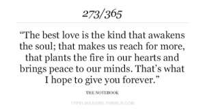 """In Our Hearts: 273/365  """"The best love is the kind that awakens  the soul; that makes us reach for more,  that plants the fire in our hearts and  brings peace to our minds. That's what  I hope to give you forever.""""  THE NOTEB0OK  TYPELIKEAGIRL.TUMBLR.COM"""