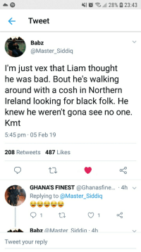 kmt: 28% 23:43  Tweet  Babz  @Master Siddiq  I'm just vex that Liam thought  he was bad. Bout he's walking  around with a cosh in Northern  Ireland looking for black folk. He  knew he weren't gona see no one  Kmt  5:45 pm 05 Feb 19  208 Retweets 487 Likes  GHANA'S FINEST @Ghanasfine... 4h  Replying to @Master_Siddiq  Babz aMasterSiddia 4h  Tweet your reply