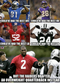 Raider probs Credit: Abhishek Panjwani: 28  COULDTVE HAD THE BEST WR COULDTVE HADTHE BEST RB  Se  COULDVEHAD THE BEST LB COULDVEHAD THEBESTCB  NFL MEMES  BUT THE RAIDERS DRAFTED  AN OVERWEIGHT QUARTERBACKINSTEAD Raider probs Credit: Abhishek Panjwani
