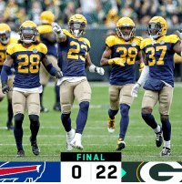 Memes, Packers, and 🤖: 28  FINAL  0 22 FINAL: @packers leap to 2-1-1! #BUFvsGB #GoPackGo https://t.co/ENWi2MUUGu