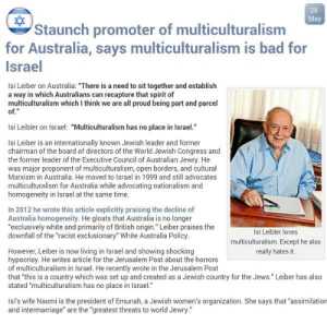"""This isn't funny anymore: 28  May  Staunch promoter of multiculturalism  for Australia, says multiculturalism is bad for  Israel  Isi Leiber on Australia: """"There is a need to sit together and establish  a way in which Australians can recapture that spirit of  multiculturalism which I think we are all proud being part and parcel  of.""""  Isi Leibler on Israel: """"Multiculturalism has no place in Israel.""""  Isi Leiber is an internationally known Jewish leader and former  chairman of the board of directors of the World Jewish Congress and  the former leader of the Executive Council of Australian Jewry. He  was major proponent of multiculturalism, open borders, and cultural  Marxism in Australia. He moved to Israel in 1999 and still advocates  multiculturalism for Australia while advocating nationalism and  homogeneity in Israel at the same time.  In 2012 he wrote this article explicitly praising the decline of  Australia homogeneity. He gloats that Australia is no longer  """"exclusively white and primarily of British origin."""" Leiber praises the  downfall of the """"racist exclusionary"""" White Australia Policy.  Isi Leibler loves  multiculturalism. Except he also  really hates it.  However, Leiber is now living in Israel and showing shocking  hypocrisy. He writes article for the Jerusalem Post about the horrors  of multiculturalism in Israel. He recently wrote in the Jerusalem Post  that """"this is a country which was set up and created as a Jewish country for the Jews."""" Leiber has also  stated """"multiculturalism has no place in Israel.""""  Is's wife Naomi is the president of Emunah, a Jewish women's organization. She says that """"assimilation  and intermarriage"""" are the """"greatest threats to world Jewry."""" This isn't funny anymore"""