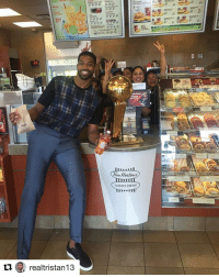 Following in Sidney Crosby's footsteps, Tristan Thompson took the Larry O'Brien Trophy to Tim Hortons 😀🍩 (via @realtristan13): 28  realtristan13  int Hortons  ALWAYS FRESH  B Following in Sidney Crosby's footsteps, Tristan Thompson took the Larry O'Brien Trophy to Tim Hortons 😀🍩 (via @realtristan13)