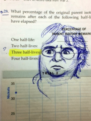 Unfair Question   Funny Exam Answers   Know Your Meme: 28. What percentage of the original parent isot  remains after each of the following half-li  have elapsed?  ERCENTAGE OF  PARENT ISOTORE REMAINI  One half-life:  Two half-lives:  Three half-lives  Four half-lives  TRAL 2  35  25  Nickels  30 Unfair Question   Funny Exam Answers   Know Your Meme