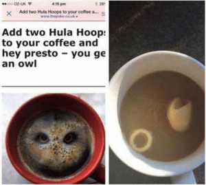 meirl by Zetonus MORE MEMES: 28  XAdd two Hula Hoops to your coffee a...S  000 02-UK  4:15 pm  Add two Hula Hoop:  to your coffee and  hey presto you ge  an owl meirl by Zetonus MORE MEMES