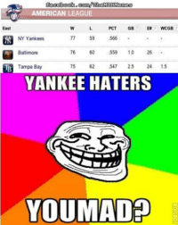Brace yourselves, the Yankees won a game! (Matt Garbus): AMERICAN LEAGUE  East  PCT  GB  WCGB  NY Yankees  77 59  .566  Baltimore  76 60  559  10  26  Tampa Bay  547  2.5  24  1.5  YANKEE HATERS  YOUMADED Brace yourselves, the Yankees won a game! (Matt Garbus)