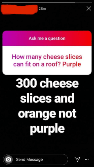 Found a wild one on Instagram: 28m  Ask me a question  How many cheese slices  can fit on a roof? Purple  300 cheese  slices and  orange not  purple  Send Message Found a wild one on Instagram