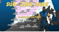 Sub-Zero, Zero, and Grand: 29  NTASAN  UDINGTON  IG RAPIDS  SUB-ZERO WINS  8  -24  MUSKEGON  ALMA  ONIA  -26  GRAND RAPIDs  HOLLAND  LANSING  RLAWLASE ET  ICTO  -32  OUTH HAVEN  47 -50  JACKS  BATTLE CREEK  KALAMAZOO  -48-5%  BENTON HARBOR  BE48 COLDWATER HILLSDALE  STURGIS Fatality.