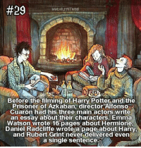 """loooove this fact sm!!😍😍😍 - Comment """"😍"""" if you knew this and if you didn't """"😱"""":  #29  WWEASLEVSTWINS  Before the filming of Harry Potter and the  Prisoner of Azkaban, director Alfonso  Cuaron had his three main actors write  an essay about their characters. Emma  Watson wrote 16 pages about Hermione  Daniel Radcliffe wrote a page about Harry.  and Rubert Grint never delivered even  a single sentence loooove this fact sm!!😍😍😍 - Comment """"😍"""" if you knew this and if you didn't """"😱"""""""
