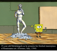 29-year-old Michelangelo as he presents his finished masterpiece  of Renaissance art. Florence, Italy, 1504) The work of a true genius