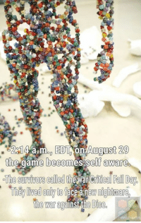 Fail, Memes, and The Game: 291  EDT on August 29  14aamon the game becomes self aware  The survivors called  the war Fail Day.  They lived onlyto face a new nightmare  the war gains the Dice -ARI, the Digital Hermit  Artist: Kim Hyun (https://neolook.com/archives/20101008b)