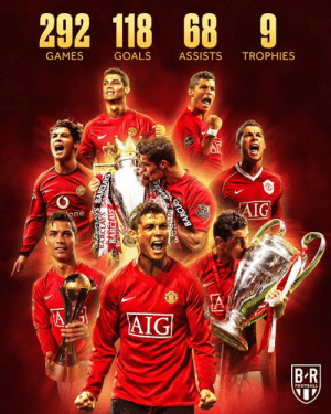 16 years ago today, Cristiano Ronaldo signed for Manchester United  The start of an incredible six seasons 👏🏆: 292 118 68 9  GAMES  GOALS  ASSISTS  TROPHIES  AIG  one  A  AIG  BR  FOOTBALL  BARCLAYS BANSCLAYS  BARCLAYS  BA Dr  BARCLAS 16 years ago today, Cristiano Ronaldo signed for Manchester United  The start of an incredible six seasons 👏🏆