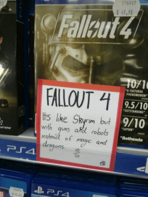 """Yeahthat: 296687  49.98  Fallaut4  1071  9.5/10  9/10  A CULTURAL  PHENOMENON""""  FALLOUT  OUTSTANDING  tis like Skyrim but  with quns adl robots  nsteacl of macic and  SUPERB  WI  """"Bethesda  agons.IO  lo Yeahthat"""