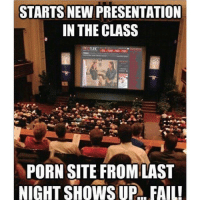 Worst nightmare..?: STARTS NEW PRESENTATION  IN THE CLASS  PORN SITE FROM LAST  NIGHT SHOWS UP  FAIL! Worst nightmare..?