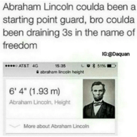 """😂😂😂: Abraham Lincoln coulda been a  starting point guard, bro coulda  been draining 3s in the name of  freedom  IG:@Daquan  ....o AT&T 4G  15:35  3 51%E,  abraham lincoln height  6' 4"""" (1.93 m)  Abraham Lincoln, Height  More about Abraham Lincoln 😂😂😂"""