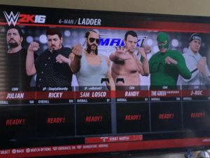 Memes, Trailer Park Boys, and Match: 2KIG 6-MAN/LADDER  MAL  COM  P: SimplyKimothy  RICKY  P:collette6  SAM LOSCO  COM  COM  COM  JULIAN  RANDY THEGREEN · J-ROC  ERALL  00 OVERALL  0 OVERALL  OVERALL  OVERALL  啣OVERALL  READY!  READY  READY!  READY  READY  READY!  6START MATCH  SELECT  BACKMATCH OPTIONS C ENTRANCE: ON E MOMENTUM:NORMAL I'll fuckin unload one on ya!  Make your next poker night extra greasy! Get Trailer Park Boys playing cards at www.highrollergames.com