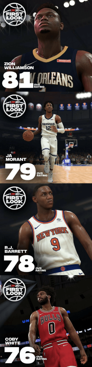 NBA2K ROOKIE RATINGS! https://t.co/i4JyPbvdWu: 2KZ0  FIRST  LOOK  ZATARAINS  zZION  WILLIAMSON  81 ORLEANS  OVR  RATING   을 훌올을  FIRST 4 33  LOOK  FedEx  MEMPHIS  12  JA  MORANT  SAT  79  OVR  RATING   FIRST  LOOK  soUARESPACE  NEW YORK  R.J.  BARRETT  78  OVR  RATING  HCHKS   FIRST  LOOK  BULLS  UN  СОВY  TSWHITE  ISE  76  OVR  RATING NBA2K ROOKIE RATINGS! https://t.co/i4JyPbvdWu