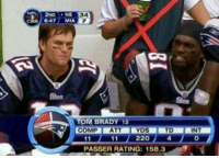 Memes, Tom Brady, and Best: 2ND NE  34  7  6:47. MIA  Bhas  TOM BRADY 12  COMP ATT  YDSTD  220  INT  4  PASSER RATING: 158.3 Best stat line of all time https://t.co/vTzwJ8c3tH