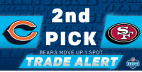 🚨 TRADE ALERT! 🚨  The @ChicagoBears acquire the #2 pick from the @49ers! #NFLDraft https://t.co/oDawtuu5Sl: 2nd  PICK  BEARS MOVE UP 1 SPOT  TRADE ALERT  NFL  DRAFT 🚨 TRADE ALERT! 🚨  The @ChicagoBears acquire the #2 pick from the @49ers! #NFLDraft https://t.co/oDawtuu5Sl