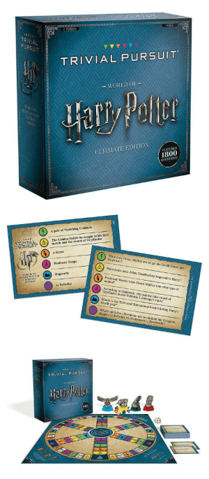 novelty-gift-ideas:  Harry Potter Ultimate Trivial Pursuit  : 2PLAYERS  TR  AL  TRIVIAL PURSUIT  WORLD OF  ULTIMATE EDITION  FEATURES  1800  QUESTIOS   A pair of Vanishing Cabinets  The Golden Snitch he caught at his first  tch and the sword of Gryffindor  PURSUOT  6  A ferret  What does Draco Malfoy use to get the Death Eaters into  Hogwarts?  What items does Albus Dumbledore bequeath to Harry?  Professor Moody turns Draco Malfoy into what type of  Professor Snape  Hogwarts  HORLDo  animal?  UETIMATE  a) Relashlo  According to Griphook, who put the fake sword of  Gryffindor inside Bellatrix Lestrange's vault?  Where is the Triwizard Tournament hosted during Harry's  fourth year?  Which spell does Hermione use to unchain the Gringotts  dragon: a) Relashio b) Alohomora c) Bombarda?   TRIVIAL PURSUIT  800 novelty-gift-ideas:  Harry Potter Ultimate Trivial Pursuit
