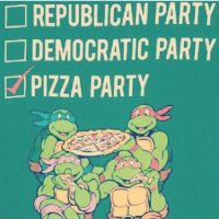Pepperoni for President- 2016 (@halfasianbrah) not like this mothafucka eats pizza anyway: REPUBLICAN PARTY  DEMOCRATIC PARTY  PIZZA PARTY Pepperoni for President- 2016 (@halfasianbrah) not like this mothafucka eats pizza anyway