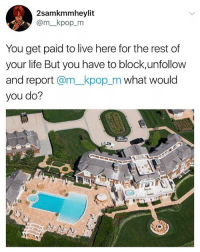 I mean fuck that bitch: 2samkmmheylit  @m_kpop_m  You get paid to live here for the rest of  your life But you have to block,unfollow  and report @m_kpop_m what would  you do? I mean fuck that bitch