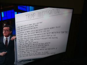 Investigationa against trump: 2SDNY INVECTIGHION OF STORMY DANIELS HUSH MONEY  3. SONY INVESTIGATION OF INAUGURATION FUNPING  4 SDNY INVESTIGATION OF PRO TRUMP SUPER PAC  5 DEFRRTHENT OF FINNICIAL GERVICES INVEOTI TION OF TRUMP ORG INGURANCE POLICIES  TATINE GENRL INESTNTN R REAL ESTATE PEALS  TIGATION OF TRMP ORG REAL ESTATE DEAL  IINY EAESTIGATION OF TIMI FOUNDATIN, NY STATE TAX DEPT WVESTIGATION IF TRIMP TE  NU ATTRNEY GENERAL INVESTIGATION OF UNDOCUMENTED WORKERO AT TRUMP GOUF CLUR  L. MARLAD A0 DC AORNEYS GENERAL LINVESTIGATION OF EMOLUMENTO CLAUSE WOLATION  O.LAWSUIT OVER TRIMP LEGAL FEES  IL LAWOUIT OVER SUMMER ZERVOS DEFAMATION  LNIRUDA&GBTRICTON  12. HOUSE INTELLIGENCE  HOUSEUDICARY CIMMITTEE INVESTIGATION INTO OESTRUCTION&CORRPTION  4HE ERY GT CONMITEE INVESTIGATION OF SELURITY CLEARANCEG  15 HOUTE FINANCAL ONITTE /HOUSE INTELL IGENCE COMMITTEE JONT INVEST IGATION OF  DEUTSCHE BANKS LENDING TO TRUMP ORG  l. HOUSE WAYS AND MEAAD INNESTIGATION INTO TRUMPS TAX RETURNO  17 HOUSE fREIGN AFFAIRS COMMITTEE INVESTIGATION İNTO EHLUMENT CLAUSE VOLATIND Investigationa against trump