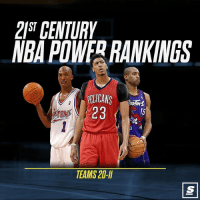 Nba, Link, and Power: 2ST CENTURIY  NBA POWERRANKINGS  PELICANS 15  23  SPALD  TEAMS 20-I Check out theScore's comprehensive 21st Century NBA team Power Rankings 👀🏀 [Link in bio for teams 20-11] Sponsored via @theScore