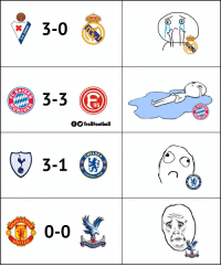 Memes, Today, and 🤖: 3-0  3-3  AYER  95  UNCH  fOOTrollFootball  ELSE  OTBALL  CHES  0-0  NITE  CRYST  E F.С.  AL PAL Fan reaction to their club's result today https://t.co/CtkqKi0BHQ