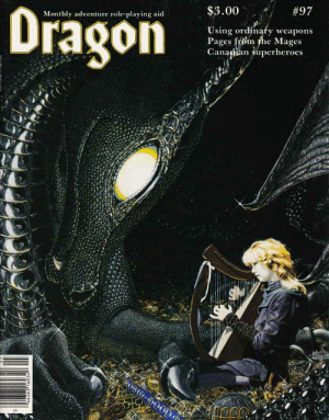 "Tumblr, Blog, and Http: $3.00 / #97  Monthly adventure role-playing aid  Using ordinafy weapons  Pages frbm fhe Mages  Ganapan superheroes oldschoolfrp:  A bard entertains a silver dragon in Robin Wood's ""Music Lover"".  (Dragon 97, May 1985)"