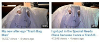 Trash, Got, and Class: 3:05  4:32  My new alter ego Trash Bag  Man  16,527 views 4 years ago  I got put in the Special Needs  Class because I wore a Trash B.  47,548 views 4 years ago Me🗑️irl