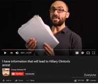 O boi here we go -meme gonzalez: 3:07 21:04  I have information that will lead to Hillary Clinton's  arrest  Casey Neistat  M  C Sub4Sub 100,000,000  Add to  A Share More  Everyone  999,999  Liberal O boi here we go -meme gonzalez