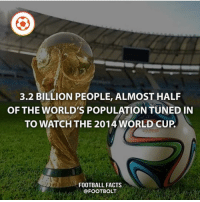 Comment your country below fact footbolt football FIFA worldcup Brazil @footbolt: 3.2 BILLION PEOPLE, ALMOST HALF  OF THE WORLD'S POPULATION TUNED IN  TO WATCH THE 2014 WORLD CUP  FOOTBALL FACTS  @FOOTBOLT Comment your country below fact footbolt football FIFA worldcup Brazil @footbolt