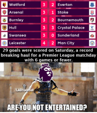 What a Matchday it was *__*  Via : The LAD Football: 3 2 Everton  Watford  3 1 Stoke  Arsenal  Burnley  2 Bournemouth  Hull  3 3 Crystal Palace  3 0 Sunderland  Swansea  Leicester  4 2 Man City  29 goals were scored on Saturday, a record  breaking haul for a Premier League matchday  with 6 games or fewer.  ELAD footbal  ARE YOU NOT ENTERTAINED? What a Matchday it was *__*  Via : The LAD Football