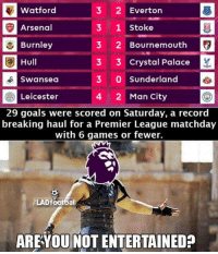 Premier League!!: 3 2 Everton  Watford  3 1 stoke  Arsenal  Burnley  3 2 Bournemouth  Hull  3 3 Crystal Palace  3 O Sunderland  Swansea  2 Man City  Leicester  29 goals were scored on Saturday, a record  breaking haul for a Premier League matchday  with 6 games or fewer.  LAD footbal  ARE YOU NOT ENTERTAINED Premier League!!