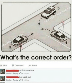 Meirl by MrRoBy MORE MEMES: 3  2  What's the correct order?  dr Like Comment Share  all 3 at same time  1-6 hrs  Unlike Reply  Unlike Reply  1-6 hrs Meirl by MrRoBy MORE MEMES