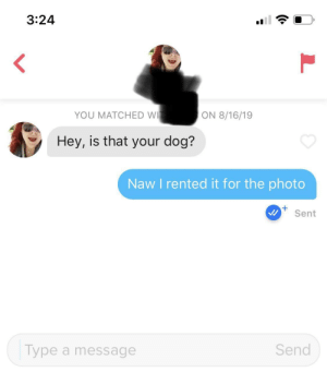 Gotta get creative for my Tinder selfies: 3:24  YOU MATCHED WI  ON 8/16/19  Hey, is that your dog?  Naw I rented it for the photo  Sent  Send  Type a message Gotta get creative for my Tinder selfies