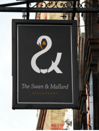 <p>Great use of positive and negative space</p>: 3'  2x  The Swan & Mallard  RESTAURA N T <p>Great use of positive and negative space</p>
