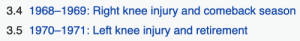 Irl, Right, and Knee Injury: 3.4 1968-1969: Right knee injury and comeback season  3.5 1970-1971: Left knee injury and retirement me🦵irl