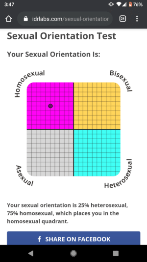 We doing this again: 3:47  76%  A idrlabs.com/sexual-orientatior  24  Sexual Orientation Test  Your Sexual Orientation Is:  Bisexual  2omosexial  Keterosenu  Your sexual orientation is 25% heterosexual,  75% homosexual, which places you in the  homosexual quadrant.  f SHARE ON FACEBOOK  lenxəs,  Asexual We doing this again