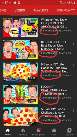 You guys were wrong collins key is the first to use the same face in his thumbnails: 3 all 45% E  4:47 a0  OME  VIDEOS  PLAYLISTS  COMMUNITY  Whatever You Draw,  l'll Buy It PANCAKE  ART CHALLENGE ..  5 months ago 15M views  20:23  $10,000 COOK-OFF:  Best Tacos, Mac  N Cheese & More ..  6 months ag  14M views  20:38  9 Genius DIY Life  Hacks #2 Plus How  TuDUTho ost Ne.  7 months ago · 2 M views  20:59  FOOD ART  CHALLENGE & How  fo Make he Best ..  7 months ago 41M views  20:02  5 Giant DIY Foods  Challenge & How  TU Ivianu The Best ..  7 months ago  7M views  24:20  Trending  Subscriptions  Inbox  Library  Home  $10,000 You guys were wrong collins key is the first to use the same face in his thumbnails