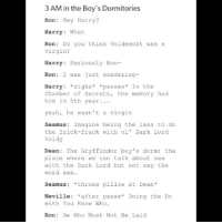 Frick, Fucking, and Gryffindor: 3 AM in the Boy's Dormitories  Ron: Hey Harry?  Harry: What  Ron: Do you think Voldemort was a  virgin?  Harry: Seriously Ron-  Ron: I was just wondering-  Harry: sighs pauses In the  Chamber of Secrets, the memory had  him in 5th year.  yeah, he wasn't a virgin  Seamus: Imagine being the lass to do  the frick-frack with ol' Dark Lord  Voldy  Dean: The Gryffindor boy's dorm; the  place where we can talk about sex  with the Dark Lord but not say the  word sex.  Seamus: throws pillow at Dean  Neville: *after pause* Doing the Do  with You Know Who.  Ron: He Who Must Not Be Laid Having the characters just being kids... fucking love it. That's one of the things that the third movie did SO WELL harrypotter