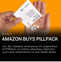 "Amazon announced today their acquisition of PillPack, the online pharmacy that lets users buy medications in pre-made doses. Specifics of the acquisition have not been disclosed by Amazon, but sources say it was close to $1 billion. PillPack was reportedly in talks with Walmart before Amazon closed the deal. ___ PillPack is based in Manchester, New Hampshire and started out in 2013. The online pharmacy company was last valued at $361 million, according to PitchBook. PillPack is licensed to operate in all 50 states in the U.S., but doesn't seem to have operational rights in international markets. PharmacyOS is the system PillPack created that helps manage patient data and distribute a balance of medication in safe doses for its customers. ___ Jeff Wilke, Amazon CEO of Worldwide Consumer said in a news release: - PillPack is meaningfully improving its customers' lives, and we want to help them continue making it easy for people to save time, simplify their lives, and feel healthier. We're excited to see what we can do together on behalf of customers over time."" ___ PillPack's CEO and co-founder TJ Parker will continue to run the business.: 3  BUSINESS  AMAZON BUYS PILLPACK  Jun 28 