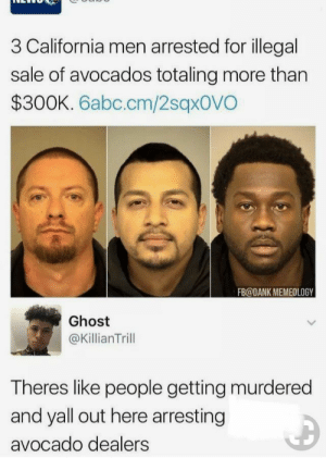 Dank, Avocado, and California: 3 California men arrested for illegal  sale of avocados totaling more than  $300K. 6abc.cm/2sqxovO  FB@DANK MEMEOLOGY  Ghost  @KillianTrill  Theres like people getting murdered  and yall out here arresting  avocado dealers