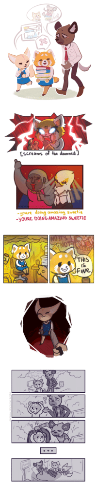 ananxiousraccoon:a bit late to the party but hey,, netflix aggretsuko?? a cute n great show that yall should totally watch if you havent already: 3  Ce  ousTOCcoon.tumbl   Lscreams of the damned ]  ananxiousraccoon.tumblr  -youre doing amaaing sweetie  -y0URE DOING AMAZING SWEETIE   ananXiOuSraccoon.fumbi  THIS  FINe   ananxiousraccoon.tumblr ananxiousraccoon:a bit late to the party but hey,, netflix aggretsuko?? a cute n great show that yall should totally watch if you havent already