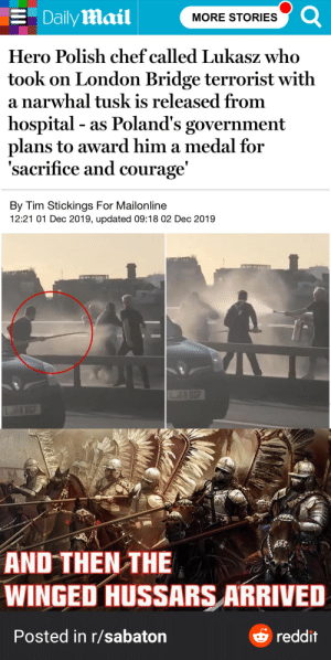 *Sabaton music start playing*: 3 Daily Mail  MORE STORIES  Hero Polish chef called Lukasz who  took on London Bridge terrorist with  a narwhal tusk is released from  hospital - as Poland's government  plans to award him a medal for  'sacrifice and courage'  By Tim Stickings For Mailonline  12:21 01 Dec 2019, updated 09:18 02 Dec 2019  EO GGF  JFD RGE  AND THEN THE  WINGED HUSSARS ARRIVED  O reddit  Posted in r/sabaton *Sabaton music start playing*