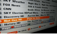 Africa, China, and Fox News: 3 Estate Real News SRY Night Estate  nigh  Fox News  sky: L. Night sky: Late Spring H  FOX & Friends Saturday  CNN  Inside Africa on Morocco on China  SKY Election HDPaul Murra.  The B Team with Pete  Discovery HD  Auction Hun... Man vs. Wild  Facing.  Nat Geo HD Pope vs Hitler  Ancient A  The Ancient Life  Hours  24 Hours  History  HD  View  et24 Page  e Video  View Channel for info  R to record,  to view,