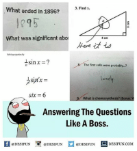 Twitter: BLB247 Snapchat : BELIKEBRO.COM belikebro sarcasm meme Follow @be.like.bro: 3. Find x.  What ended in 1896?  1295  .2  What was significant abo  4 cm  Solving equstion by  The first cells were probably...?  one  six = 6  y what is chemosynthesis? (Bonus:  Answering The Questions  Like A Boss.  4  @DESIFUN 1『@DESIFUN @DESIFUN DESIFUN.COM Twitter: BLB247 Snapchat : BELIKEBRO.COM belikebro sarcasm meme Follow @be.like.bro