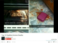 "Anime, Memes, and Good: 3  GOTTA HAVE ME A GOOD LASAGAAA  MY LASAGA  Top 10 Saddest Anime Deaths  WatchMojo.com  0519335  ,044,294  Sharer  Add ta  3,300 <p>Lasagna via /r/memes <a href=""http://ift.tt/2x4DC0B"">http://ift.tt/2x4DC0B</a></p>"